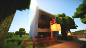 minecraft modern fence designs. Mesmerizing Simple Modern House Showing White Wall Theme And Brown Wooden Fences Also Square Cream Lamp Minecraft Fence Designs