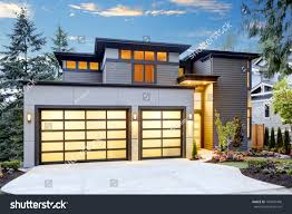 Beautiful Exterior Contemporary Home Two Car Stock Photo 704907406 ...