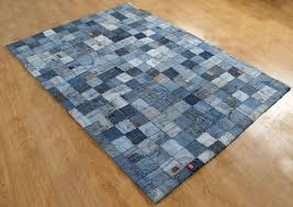 recycled jeans patch work carpet