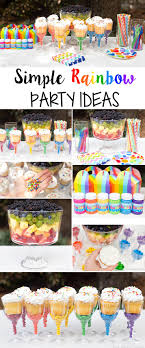 Plan a simple Rainbow Party play date this summer with ideas for healthy  snacks, sweet treats, party favors, and an easy tablescape.