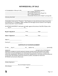 Bill Of Sale Auto California Free Notarized Bill Of Sale Form Word Pdf Eforms Free
