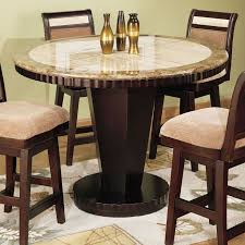 cool marble bistro table decorated with metal centerpieces four upholstered chairs with wooden legs