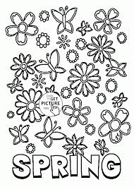 Many Spring Flowers Coloring Page For Kids Seasons Coloring Pages