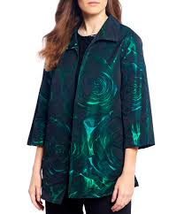 Caroline Rose Jacquard Rose Pattern Open Front Shirt Jacket