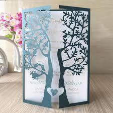 Wedding Invitations With Tree Designs 50pcs Chic Tree Love Heart Birds Design Wedding Invitations