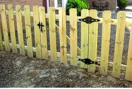 wood picket fence gate. Wide Slats Pine Picket Fence Wood Gate
