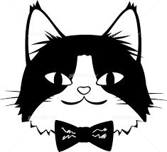 蝶ネクタイをした猫の顔 モノクロ イラスト素材 5525238 フォト
