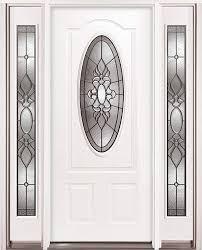 3 4 oval steel prehung door unit with sidelites 64