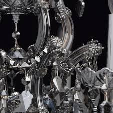 interior view classic pendant chandelier with glass décor and smoky crystal droplets save