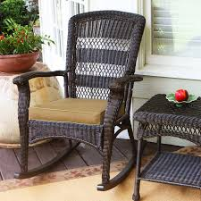 wicker patio furniture patio chairs traditional natural black wicker rocking chair with brown cushion