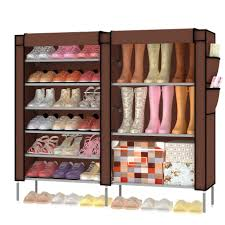 interior, Delicate Concept Of Charming Covered Shoe Rack For Stainless  Steel Rack With Fabric Material
