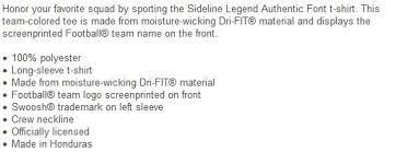 Nike Dri Fit Long Sleeve Size Chart Nfl Nike Dallas Cowboys 36 Tony Pollard Ash Name Number