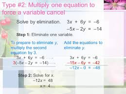 type 2 multiply one equation to force a variable cancel solve by elimination