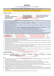 Marketing Resume Formats Manager Format For Mba Freshers Pdf Free