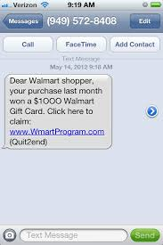 Walmart Scams Sms Smishing Text Scam Card Internet Marketing Seo Gift Alert Offers
