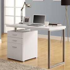 white modern computer desk laminated top metal base storage drawers dorm office
