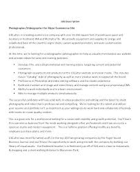 Photography Resume Samples Interesting Photographer Job Description Forensic Photographer Job Description