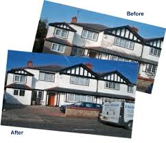 exterior decorators. before decorating and after the exterior of a half rendered house decorators p