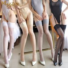 Silk smooth high-end slim sexy sexy lingerie female stockings lace stockings  thigh socks lovely