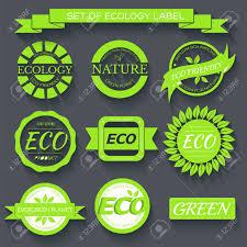 Label Print Design Green Eco Nature Label Print Set Illustration Design Template