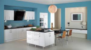 kitchen design wall colors. Sweet Blue Wall Kitchen Paint Colors With White Wooden Cabinetry As Well Balls Pendant Lamps Over Breakfast Table In Modern Decors Design H