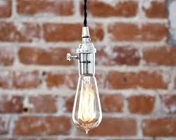 bare bulb pendant light fixture plug in industrial chrome polished nickel kitchen magnificent socket canopy astonishing