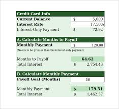 Calculator Credit Card Payment Sample Credit Card Payment Calculator 8 Documents In Excel