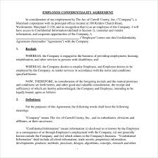 Mutual Confidentiality Agreement Sample Employee Confidentiality Agreement 100 Free Documents 47