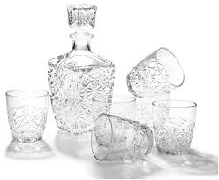 new whiskey decanter crystal bottle wine liquor vintage glass scotch bar set 7pc