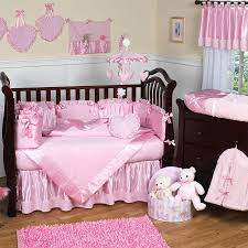 crib bedding sets pink and gray nursery with dark furniture