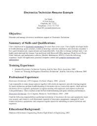 Technician Resume Example Resume Electronic Technician Resume Sample 12