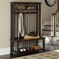 Entry Hall Bench With Coat Rack Mesmerizing Entrance Bench With Coat Rack Stylish Wood And Metal Entryway Hall