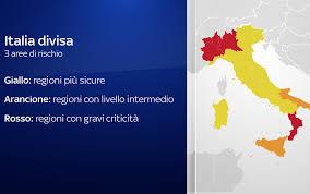 Nuovo dpcm, Italia divisa in tre zone: ecco la suddivisione delle zone