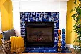 blue ceramic tile fireplace