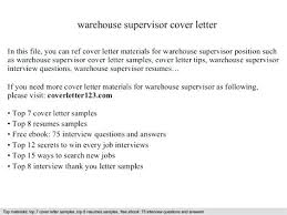 Warehouse Supervisor Resume Gorgeous Cover Letter For Warehouse Supervisor Warehouse Supervisor Cover