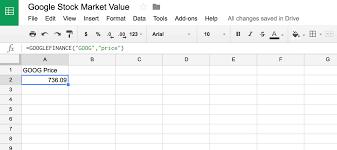 Google Finance Chart Api Use Google Sheets Googlefinance Function To Display Data In