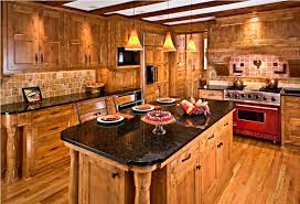 rustic alder cabinets in kitchen