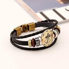 Bronze Alloy Buckles 12 Zodiac Signs <b>Bracelet Punk Leather</b> ...