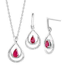 1 1 10 ct ruby pendant earrings set with diamonds