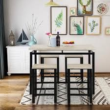 beige 5 piece dining set wood and metal pub table with 4 bar stools