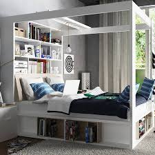 four poster bedroom furniture. Four Poster King Bed With Storage And Shelves In White Bedroom Furniture