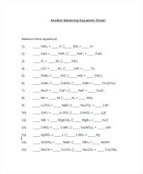 balancing chemical reactions worksheet awesome equations practice answer key about chemistry