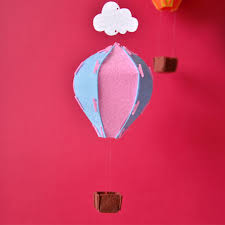 light blue and pink felt hot air balloon and clouds diy nursery decoration