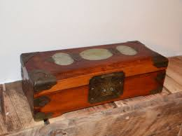 large wooden jewellery box with jade carving 1 wood brass and jade carving