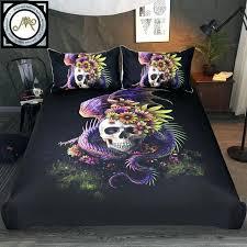 flowery skull by bedding set purple duvet cover dangerous monster fl bed 3 gothic covers king