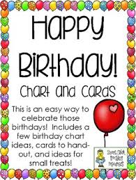 Card Birthday Chart Happy Birthday Chart And Cards For Students Freebie