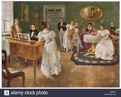 austrian composer and ian depicted playing the piano at a al gathering at the dreimaderlhaus the house of the three sisters