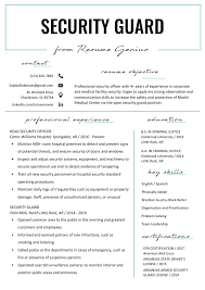 Verb List For Resumes Security Guard Resume Sample Writing Tips Resume Genius