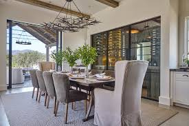 slipcovered dining chairs. Slipcovered Dining Chairs Room Beach Style With Angular Chandelier Glass Shade T