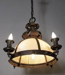 arts crafts chandelier with curved slag glass circa 1910 salvaged from local arts